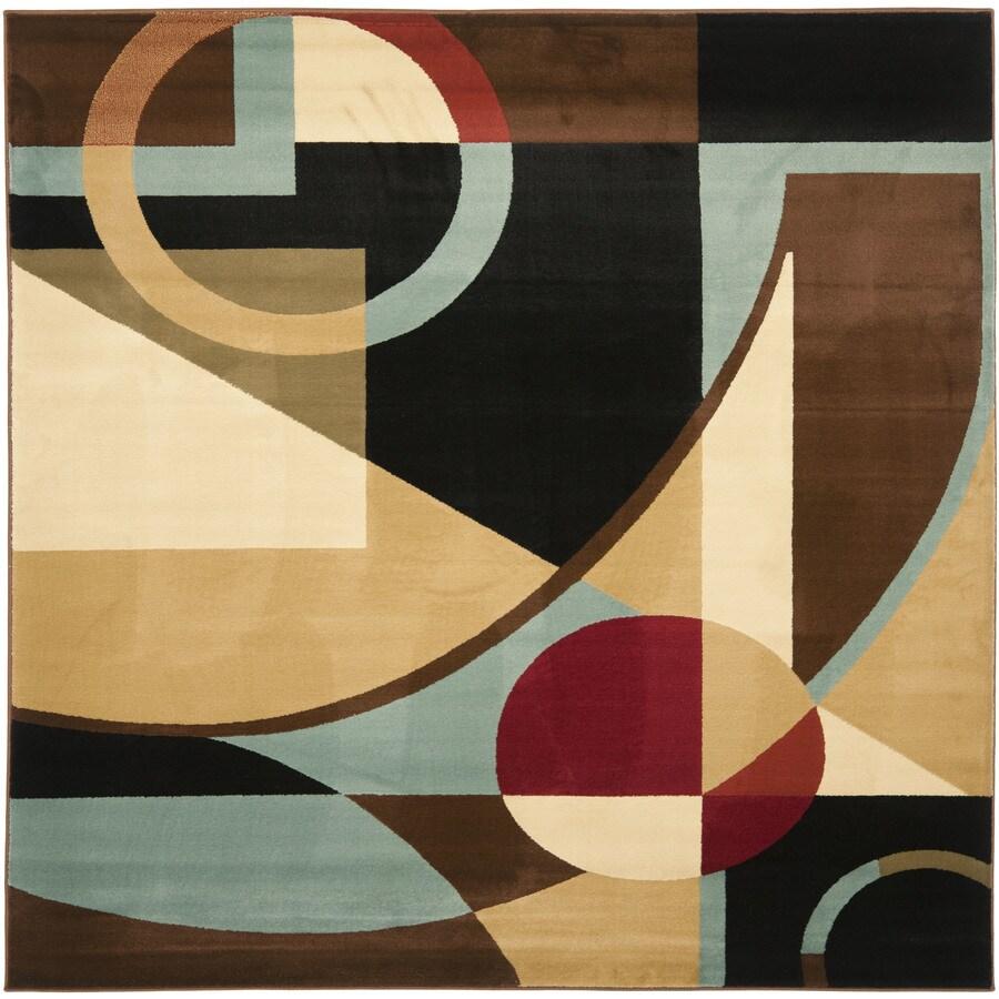 Safavieh Porcello Jackson Black/Multi Square Indoor Machine-made Area Rug (Common: 7 x 7; Actual: 7-ft W x 7-ft L)