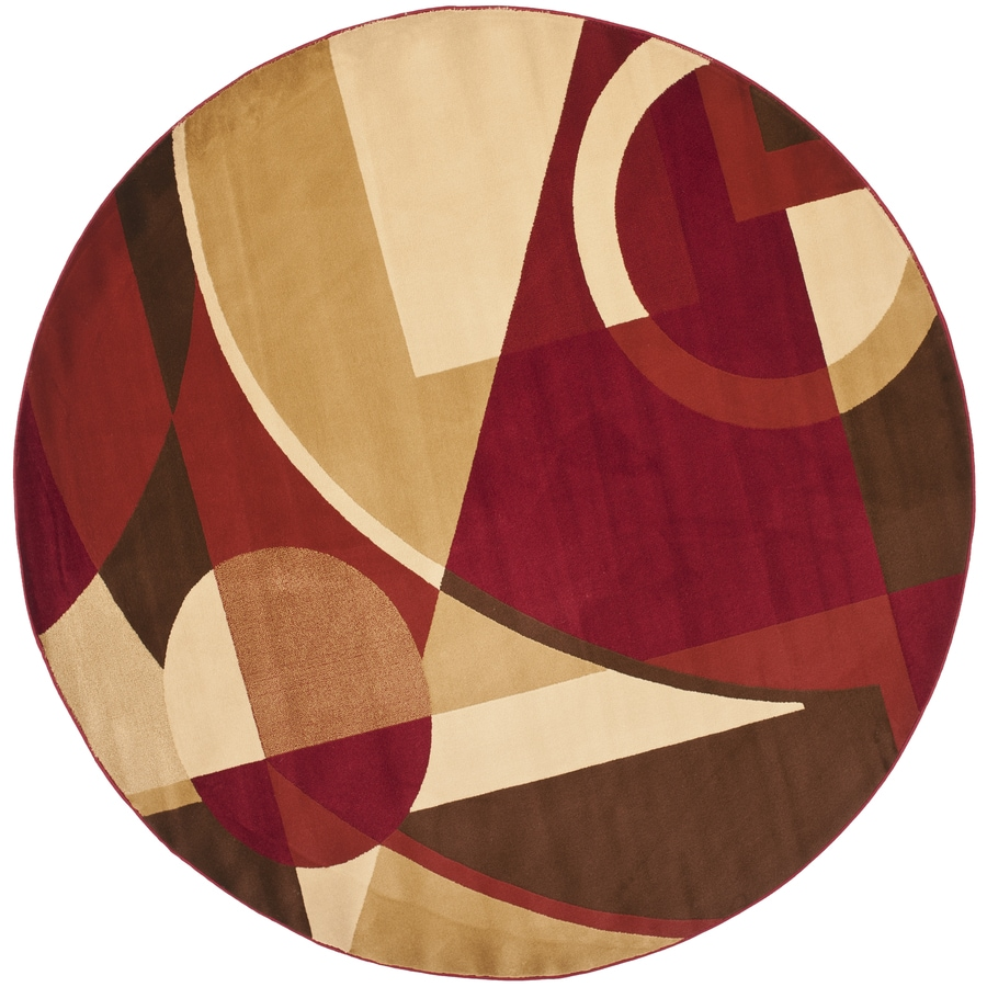 Safavieh Porcello Jackson Red Round Indoor Area Rug (Common: 7 x 7; Actual: 7-ft W x 7-ft L x 7-ft dia)