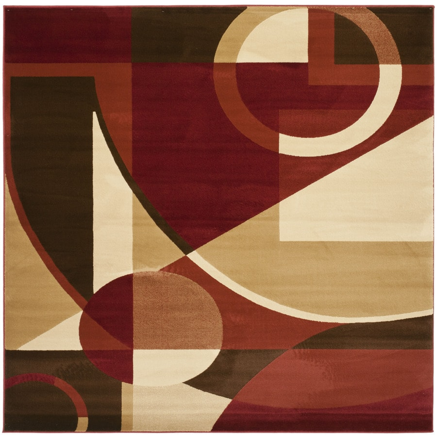 Safavieh Porcello Red/Multi Square Indoor Machine-Made Area Rug (Common: 7 x 7; Actual: 7-ft W x 7-ft L)