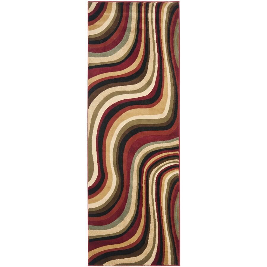 Safavieh Porcello Pulse Red/Multi Rectangular Indoor Machine-made Runner (Common: 2 x 7; Actual: 2.33-ft W x 6.583-ft L)