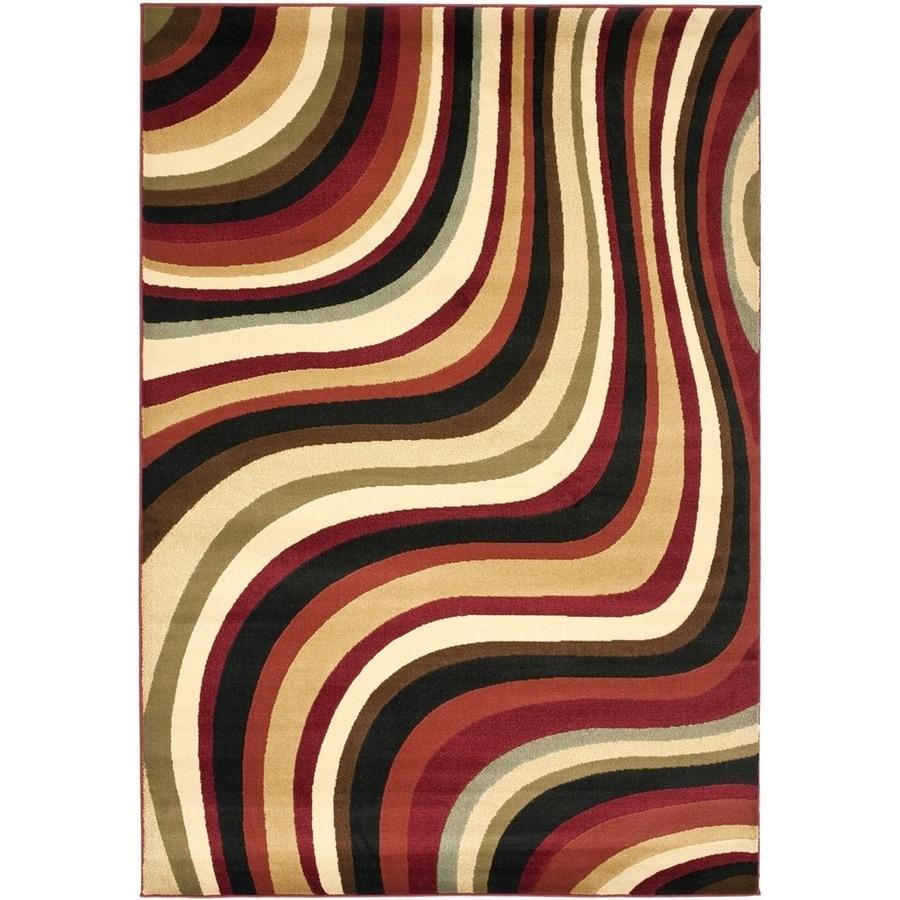 Safavieh Porcello Pulse Red/Multi Rectangular Indoor Machine-made Area Rug (Common: 6 x 9; Actual: 6.583-ft W x 9-ft L)