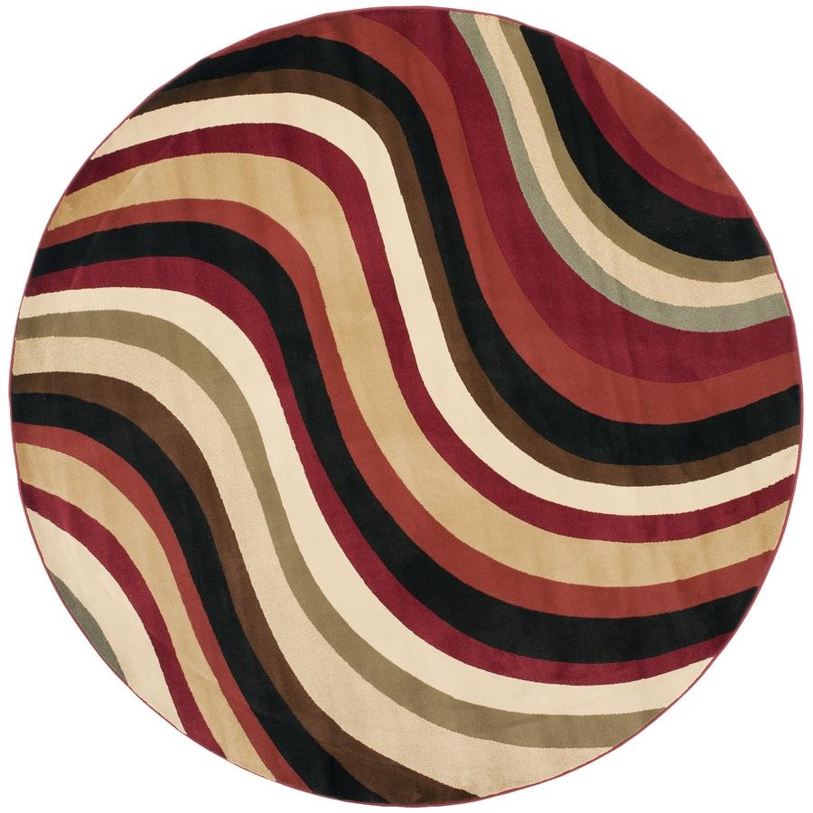 Safavieh Porcello Pulse Red/Multi Round Indoor Machine-made Area Rug (Common: 7 x 7; Actual: 7-ft W x 7-ft L x 7-ft dia)