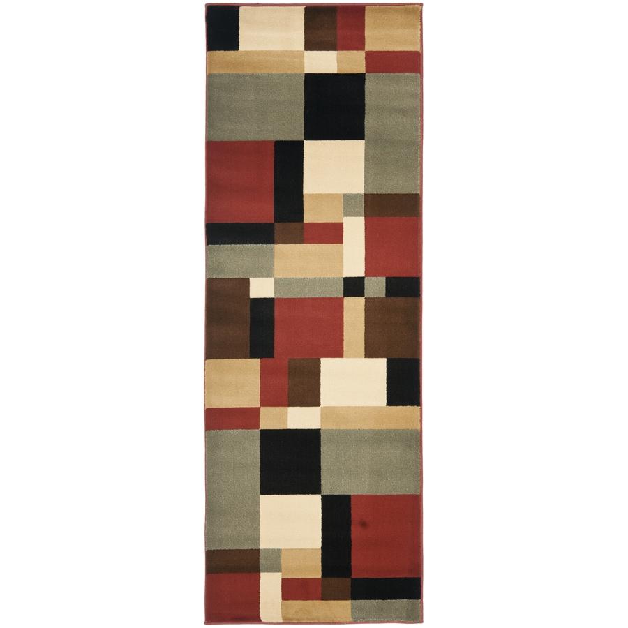 Safavieh Porcello-Box Black/Multi Rectangular Indoor Machine-made Runner (Common: 2 x 9; Actual: 2.33-ft W x 9-ft L)
