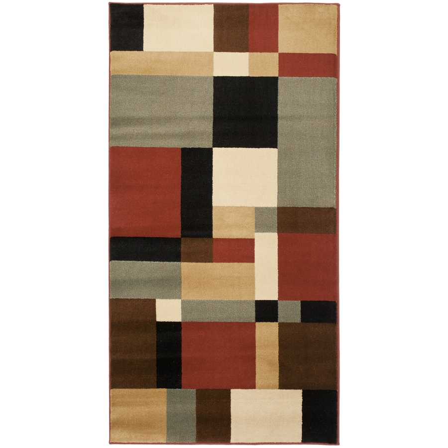 Safavieh Porcello-Box Black/Multi Rectangular Indoor Machine-made Throw Rug (Common: 3 x 5; Actual: 2.583-ft W x 5-ft L)