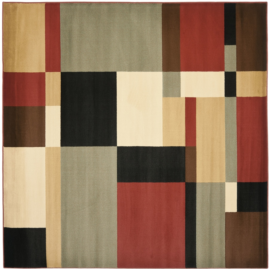 Safavieh Porcello Black/Multi Square Indoor Machine-Made Area Rug (Common: 7 x 7; Actual: 7-ft W x 7-ft L)