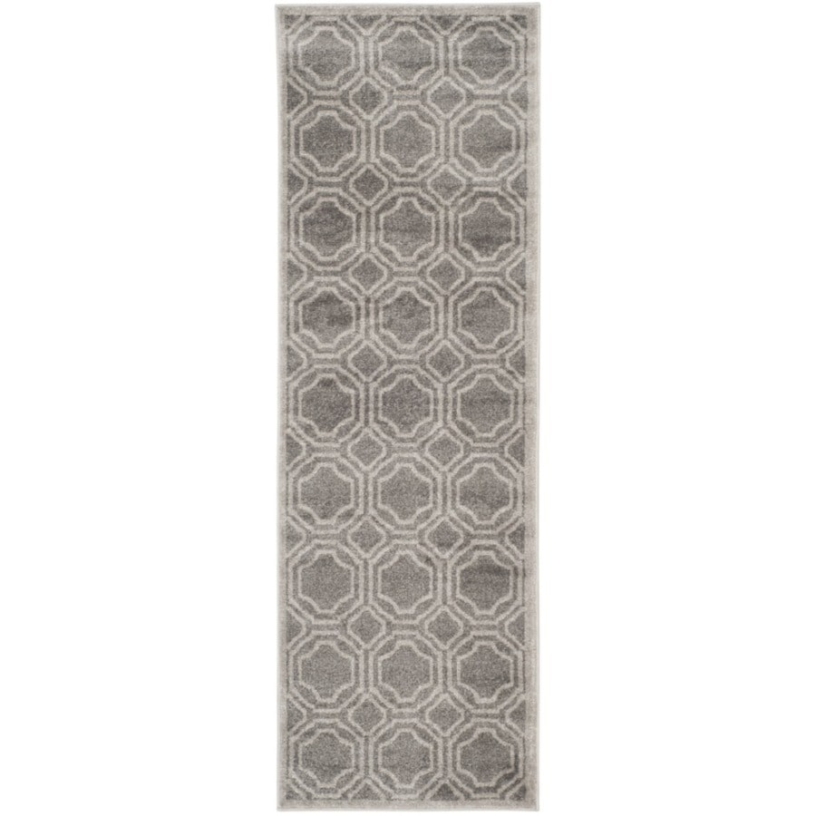 Safavieh Amherst Mosaic Gray/Light Gray Rectangular Indoor/Outdoor Machine-Made Moroccan Runner (Common: 2 x 7; Actual: 2.25-ft W x 7-ft L)