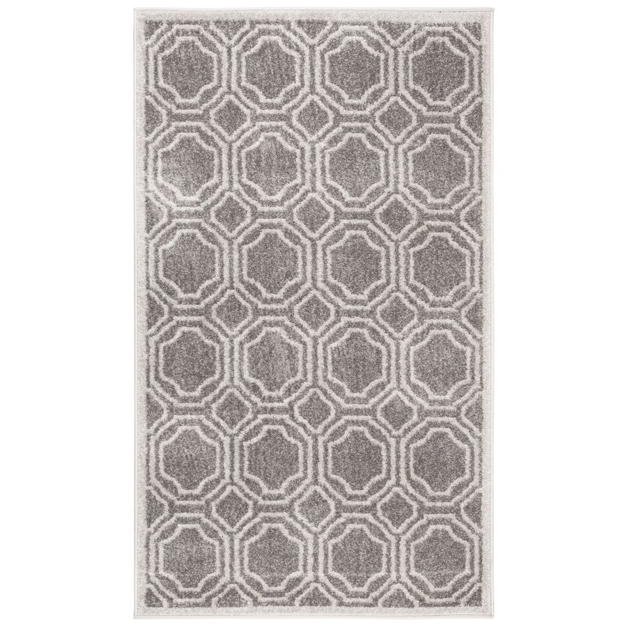Safavieh Amherst Mosaic Gray/Light Gray Rectangular Indoor/Outdoor Machine-Made Moroccan Throw Rug (Common: 3 x 5; Actual: 3-ft W x 5-ft L)