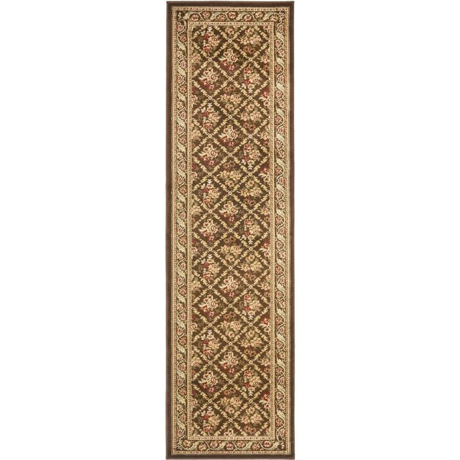 Safavieh Lyndhurst Floral Lattice Brown Indoor Oriental Runner (Common: 2 x 12; Actual: 2.25-ft W x 12-ft L)