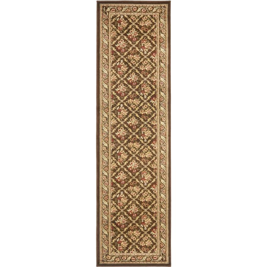 Safavieh Lyndhurst Floral Lattice Brown Indoor Oriental Runner (Common: 2 x 16; Actual: 2.25-ft W x 16-ft L)
