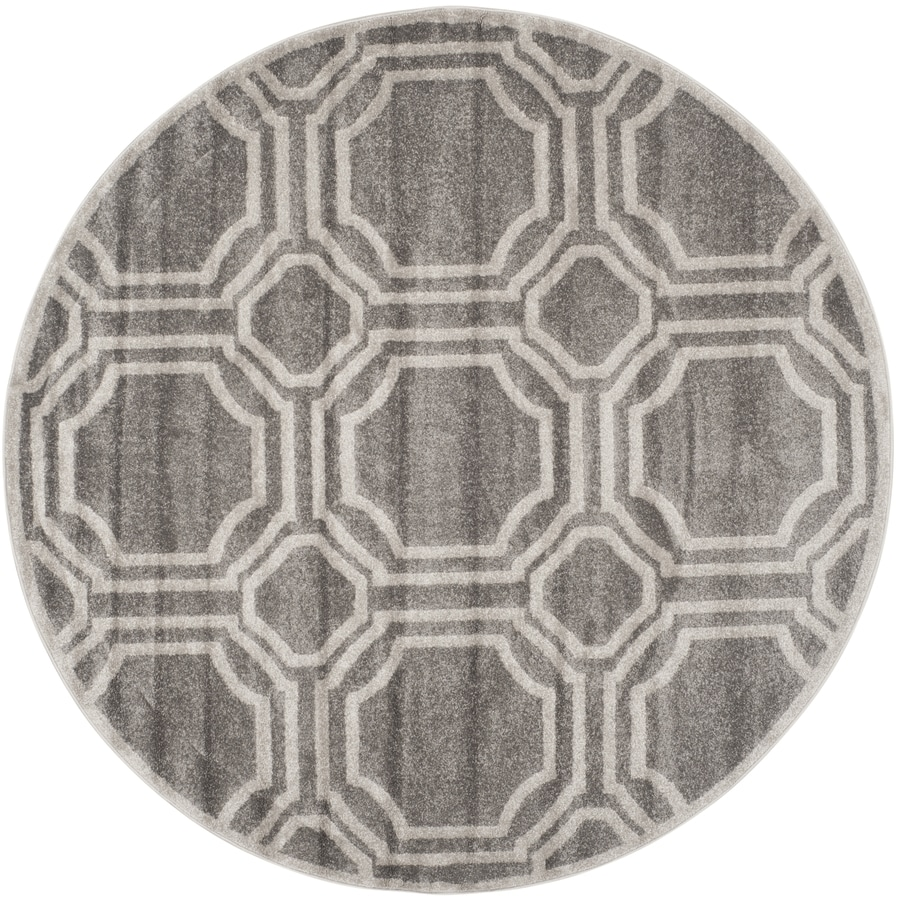 Safavieh Amherst Mosaic Gray/Light Gray Round Indoor/Outdoor Machine-Made Moroccan Area Rug (Common: 7 x 7; Actual: 7-ft W x 7-ft L x 7-ft Dia)