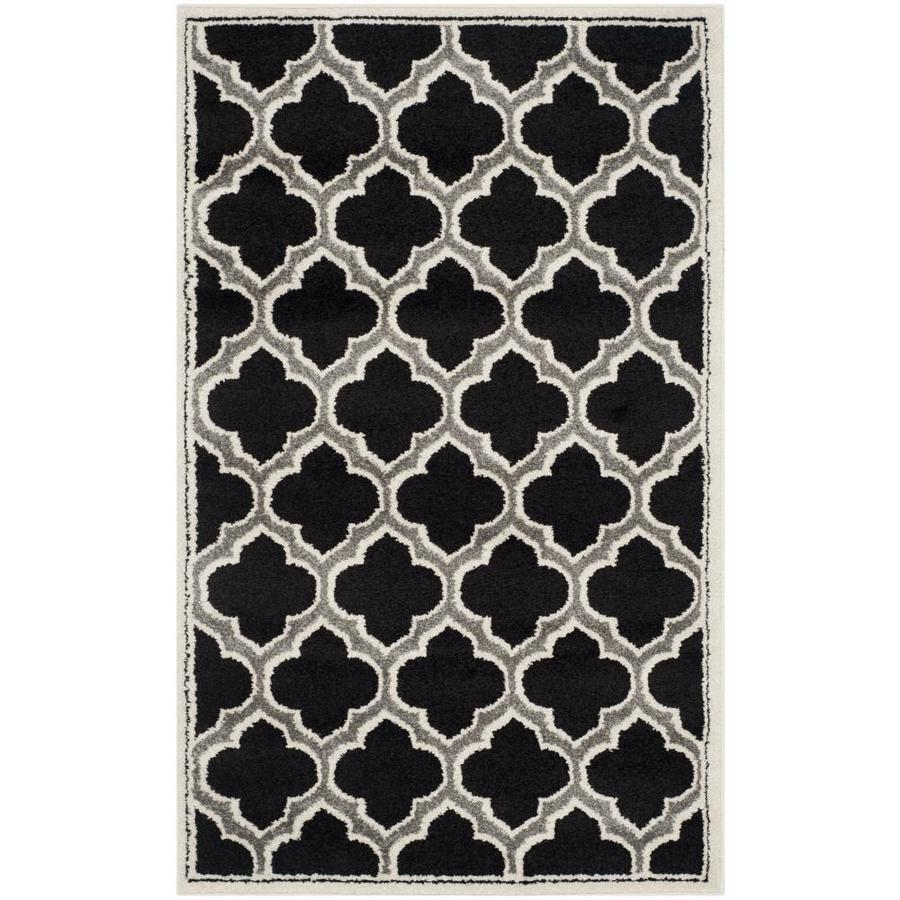 Safavieh Moroccan Anthracite/Ivory Indoor/Outdoor Throw Rug (Common: 3 x 5; Actual: 3-ft W x 5-ft L)