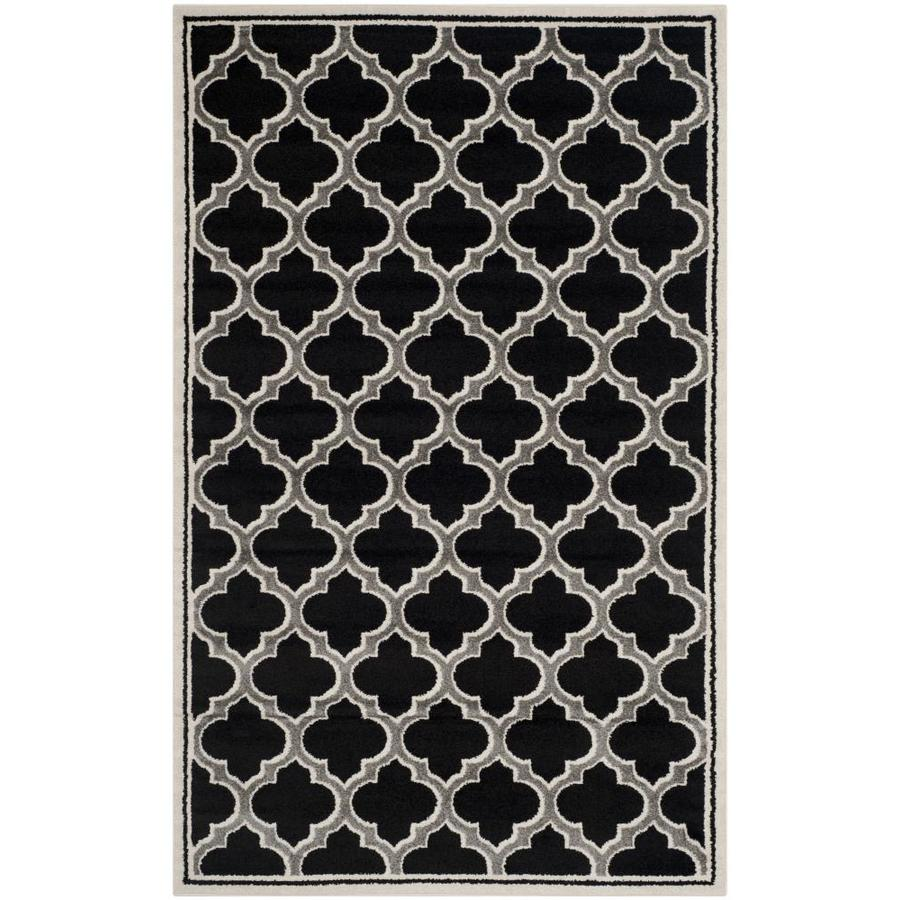 Safavieh Moroccan Anthracite/Ivory Indoor/Outdoor Area Rug (Common: 4 x 6; Actual: 4-ft W x 6-ft L)