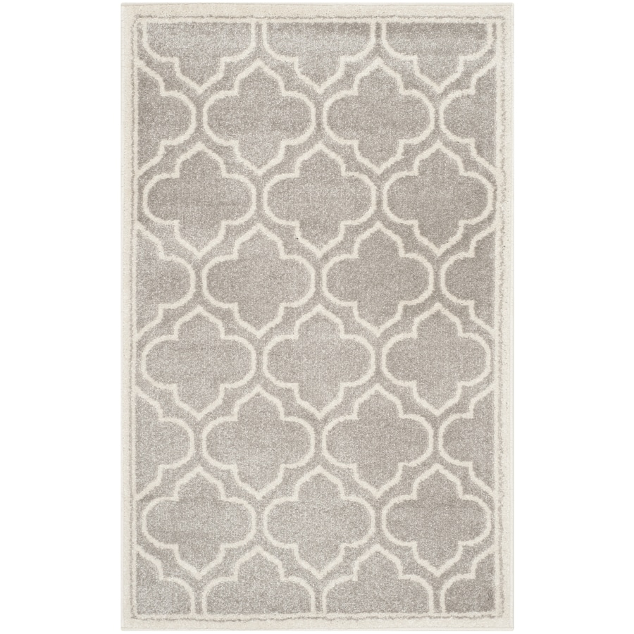 Safavieh Amherst Moroccan Gray/Ivory Rectangular Indoor/Outdoor Machine-made Moroccan Throw Rug (Common: 2 x 4; Actual: 2.5-ft W x 4-ft L)