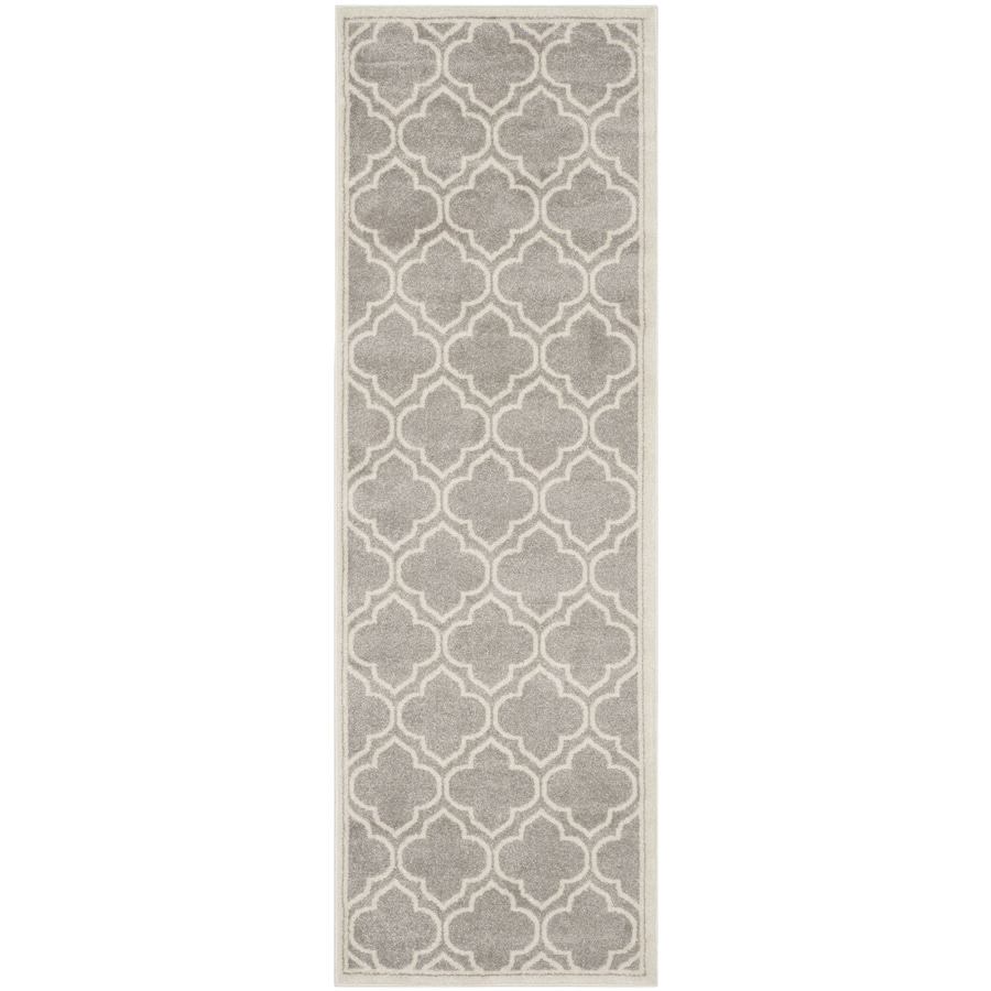 Safavieh Amherst Gray/Ivory Rectangular Indoor/Outdoor Machine-Made Moroccan Runner (Common: 2 x 7; Actual: 2.25-ft W x 7-ft L)