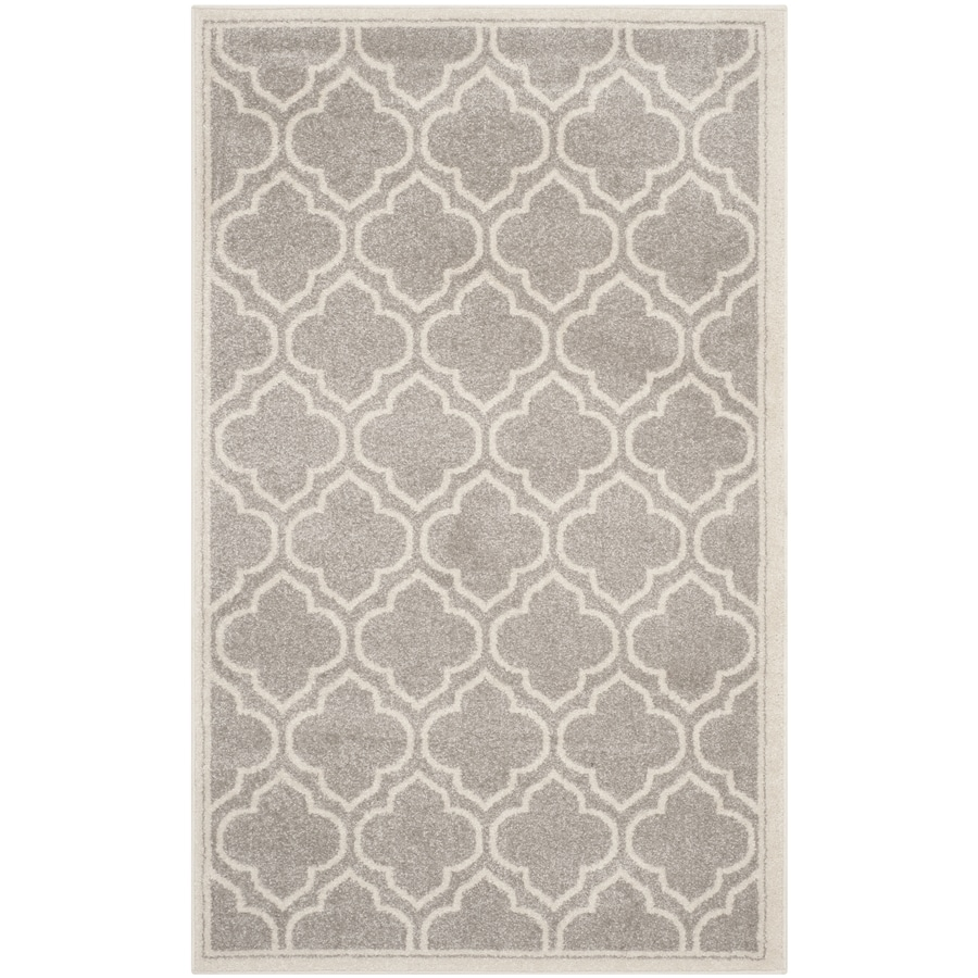 Safavieh Amherst Moroccan Gray/Ivory Rectangular Indoor/Outdoor Machine-Made Moroccan Throw Rug (Common: 3 x 5; Actual: 3-ft W x 5-ft L)