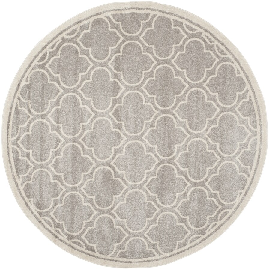 Safavieh Amherst Moroccan Gray Ivory Round Indoor Outdoor Area Rug Common