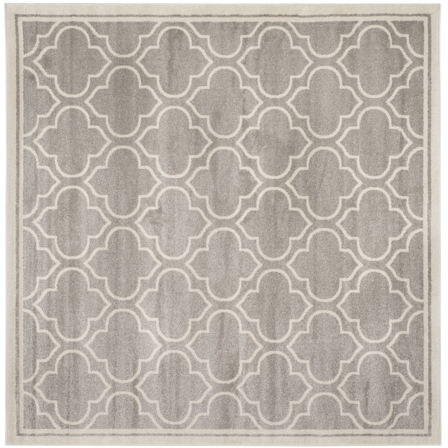 Safavieh Amherst Moroccan Gray/Ivory Square Indoor/Outdoor Moroccan Area Rug (Common: 7 x 7; Actual: 6.6-ft W x 6.6-ft L)