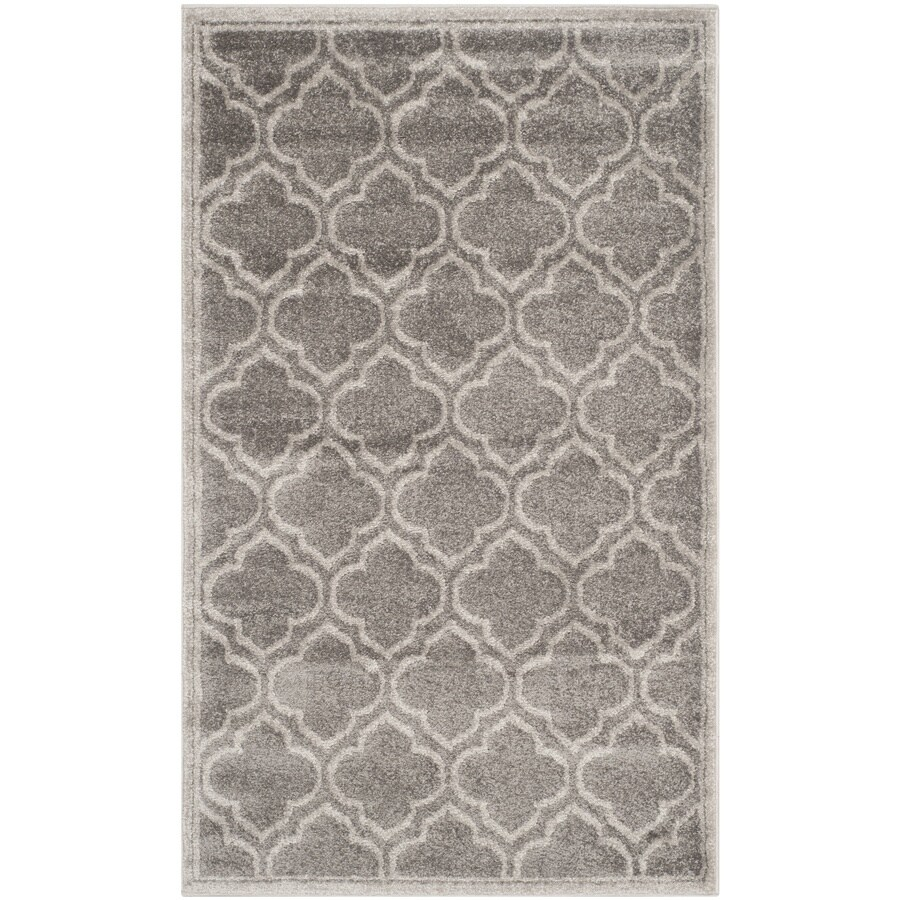 Safavieh Amherst Moroccan Gray/Light Gray Rectangular Indoor/Outdoor Machine-Made Moroccan Throw Rug (Common: 3 x 5; Actual: 3-ft W x 5-ft L)