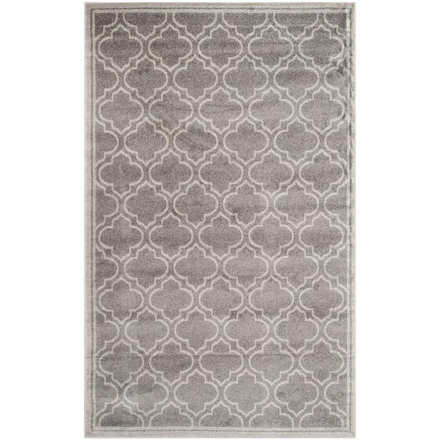 Safavieh Amherst Moroccan Gray/Light Gray Rectangular Indoor/Outdoor Machine-Made Moroccan Area Rug (Common: 4 x 6; Actual: 4-ft W x 6-ft L)