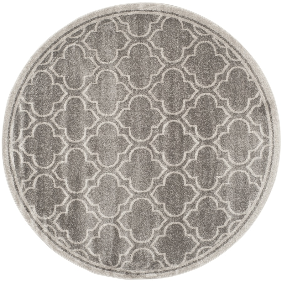 Safavieh Amherst Moroccan Gray/Light Gray Round Indoor/Outdoor Machine-Made Moroccan Area Rug (Common: 7 x 7; Actual: 7-ft W x 7-ft L x 7-ft Dia)