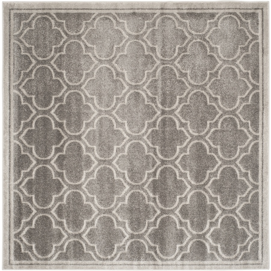 Safavieh Amherst Moroccan Gray/Light Gray Square Indoor/Outdoor Moroccan Area Rug (Common: 7 x 7; Actual: 6.6-ft W x 6.6-ft L)
