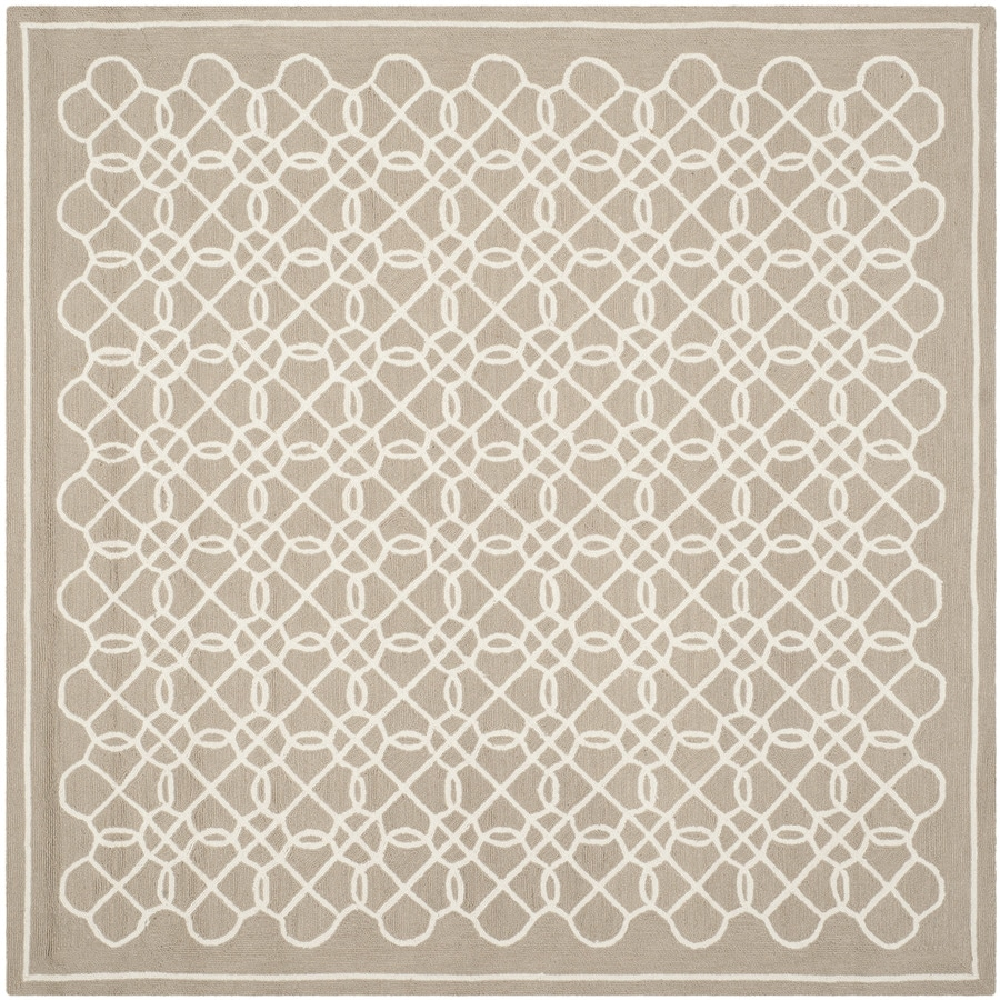 Safavieh Chelsea Kensington Tan/Ivory Square Indoor Handcrafted Lodge Area Rug (Common: 8 x 8; Actual: 8-ft W x 8-ft L)