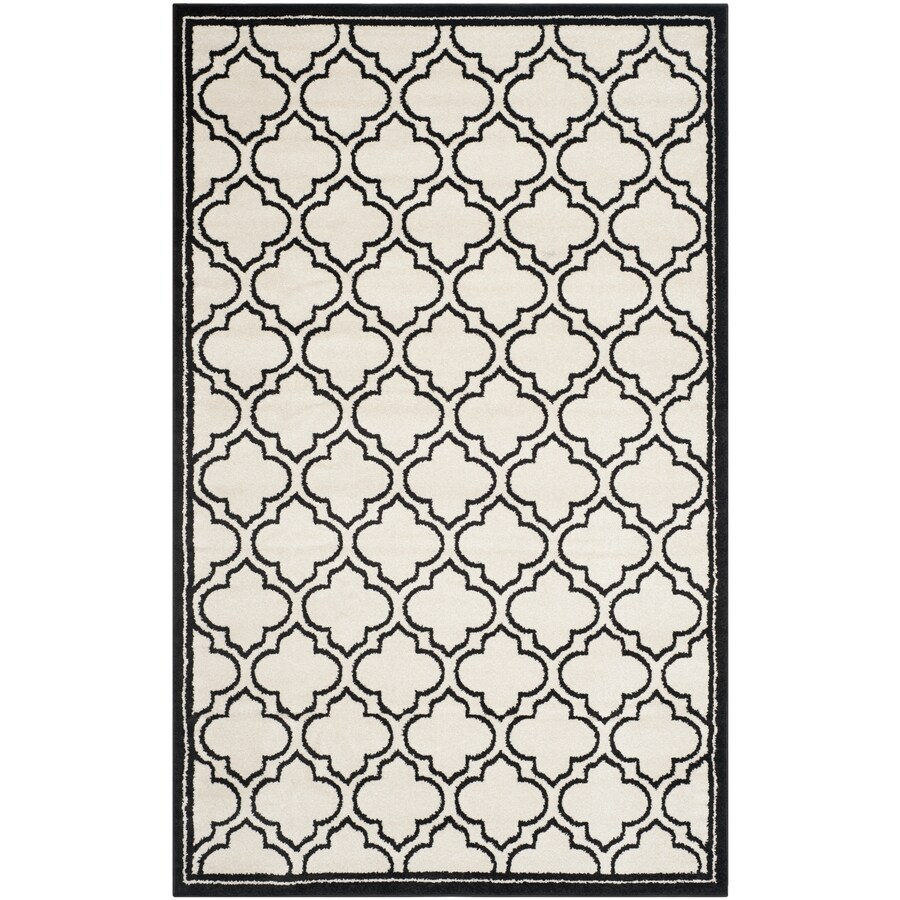 Safavieh Amherst Moroccan Ivory/Anthracite Rectangular Indoor/Outdoor Machine-Made Moroccan Area Rug (Common: 4 x 6; Actual: 4-ft W x 6-ft L)
