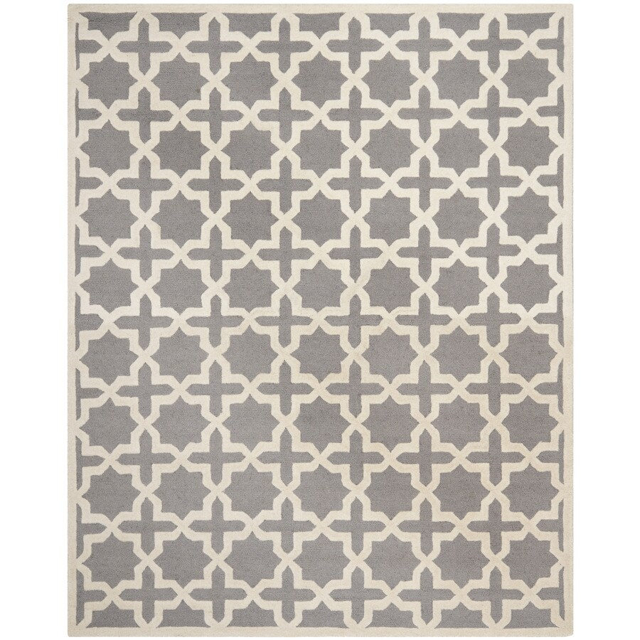 Safavieh Cambridge Rectangular Gray Geometric Tufted Wool Area Rug (Common: 9-ft x 12-ft; Actual: 9-ft x 12-ft)