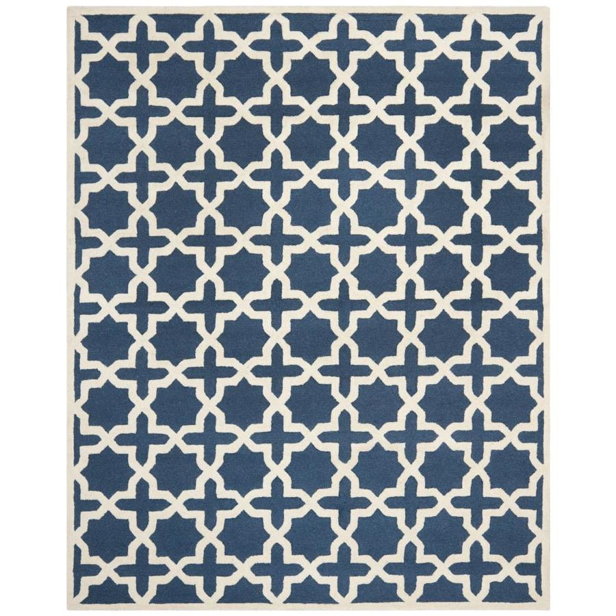 Safavieh Cambridge Navy Blue and Ivory Rectangular Indoor Tufted Area Rug (Common: 9 x 12; Actual: 108-in W x 144-in L x 0.75-ft Dia)