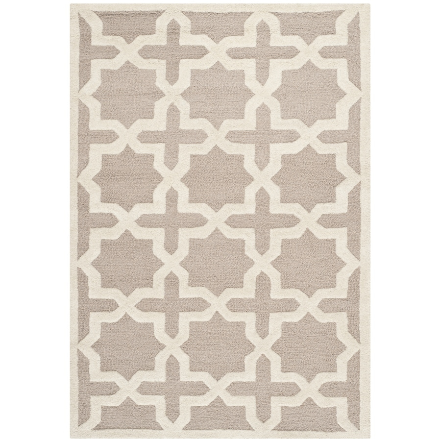 Safavieh Cambridge Rectangular Cream Geometric Tufted Wool Area Rug (Common: 4-ft x 6-ft; Actual: 4-ft x 6-ft)