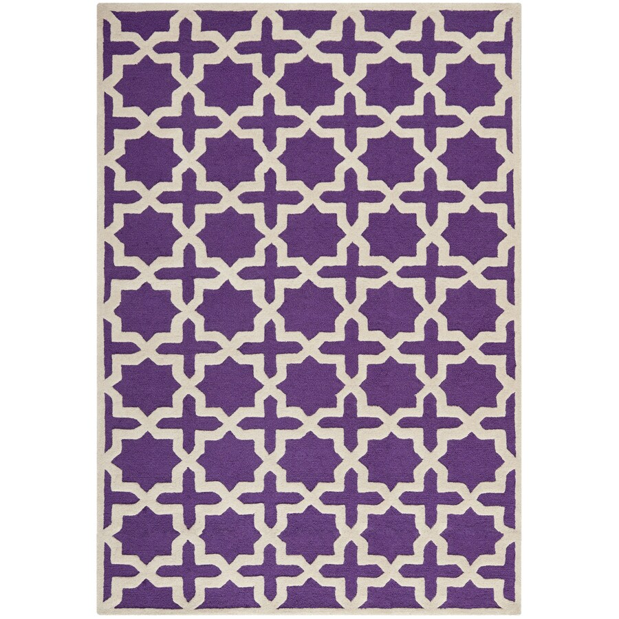 Safavieh Cambridge Rectangular Purple Geometric Tufted Wool Area Rug (Common: 4-ft x 6-ft; Actual: 4-ft x 6-ft)