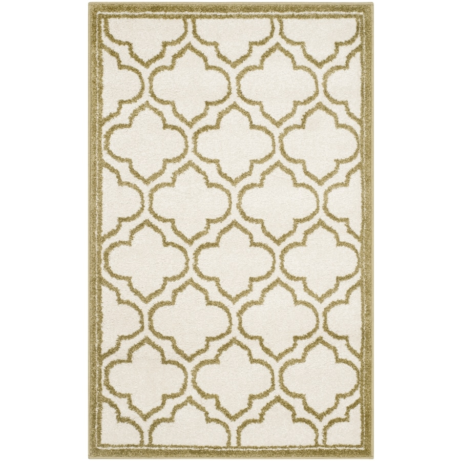 Safavieh Amherst Moroccan Ivory/Light Green Rectangular Indoor/Outdoor Machine-Made Moroccan Throw Rug (Common: 2 x 4; Actual: 2.5-ft W x 4-ft L)