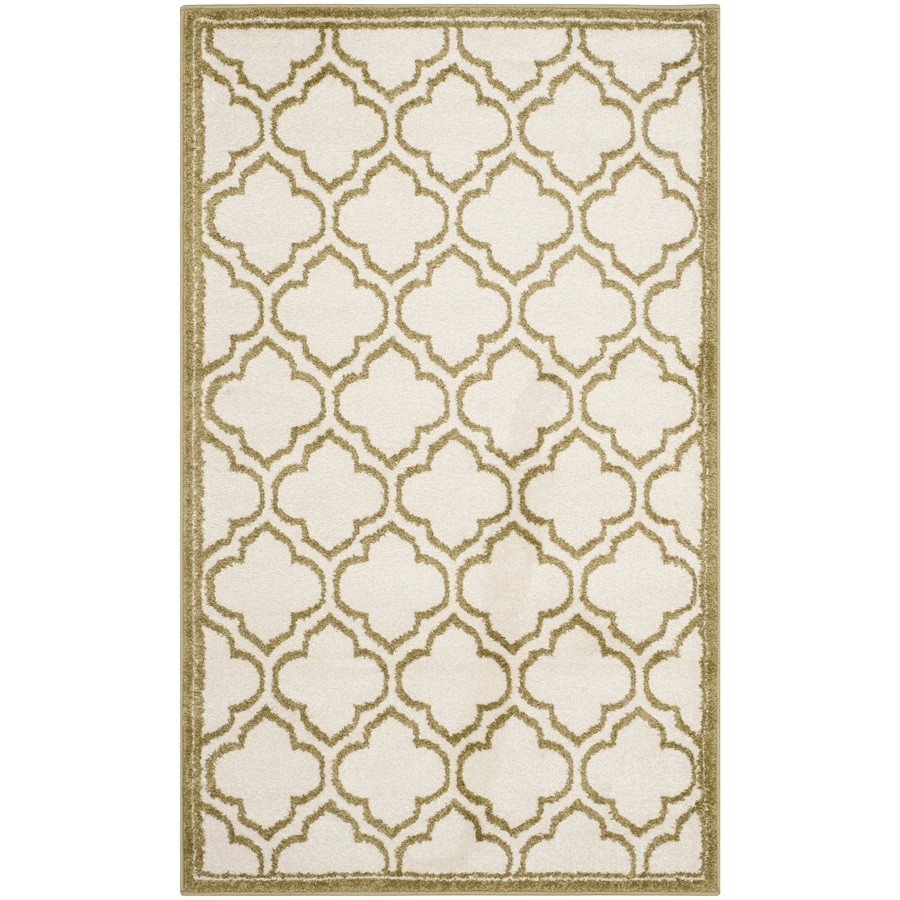 Safavieh Amherst Moroccan Ivory/Light Green Rectangular Indoor/Outdoor Machine-Made Moroccan Throw Rug (Common: 3 x 5; Actual: 3-ft W x 5-ft L)