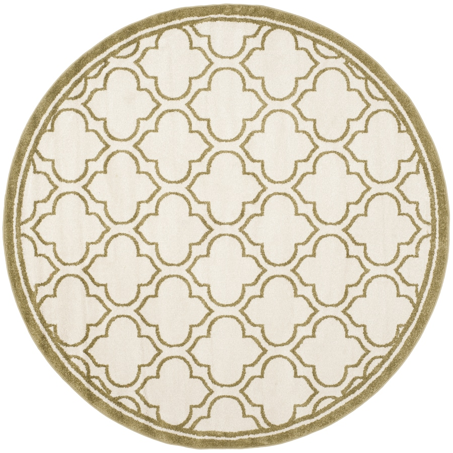 Safavieh Amherst Moroccan Ivory/Light Green Round Indoor/Outdoor Moroccan Area Rug (Common: 7 x 7; Actual: 7-ft W x 7-ft L x 7-ft dia)
