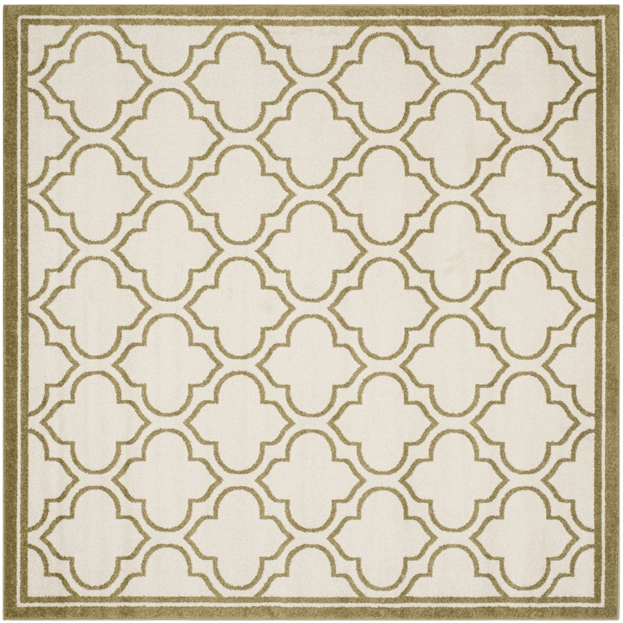 Safavieh Amherst Moroccan Ivory/Light Green Square Indoor/Outdoor Moroccan Area Rug (Common: 7 x 7; Actual: 6.6-ft W x 6.6-ft L)