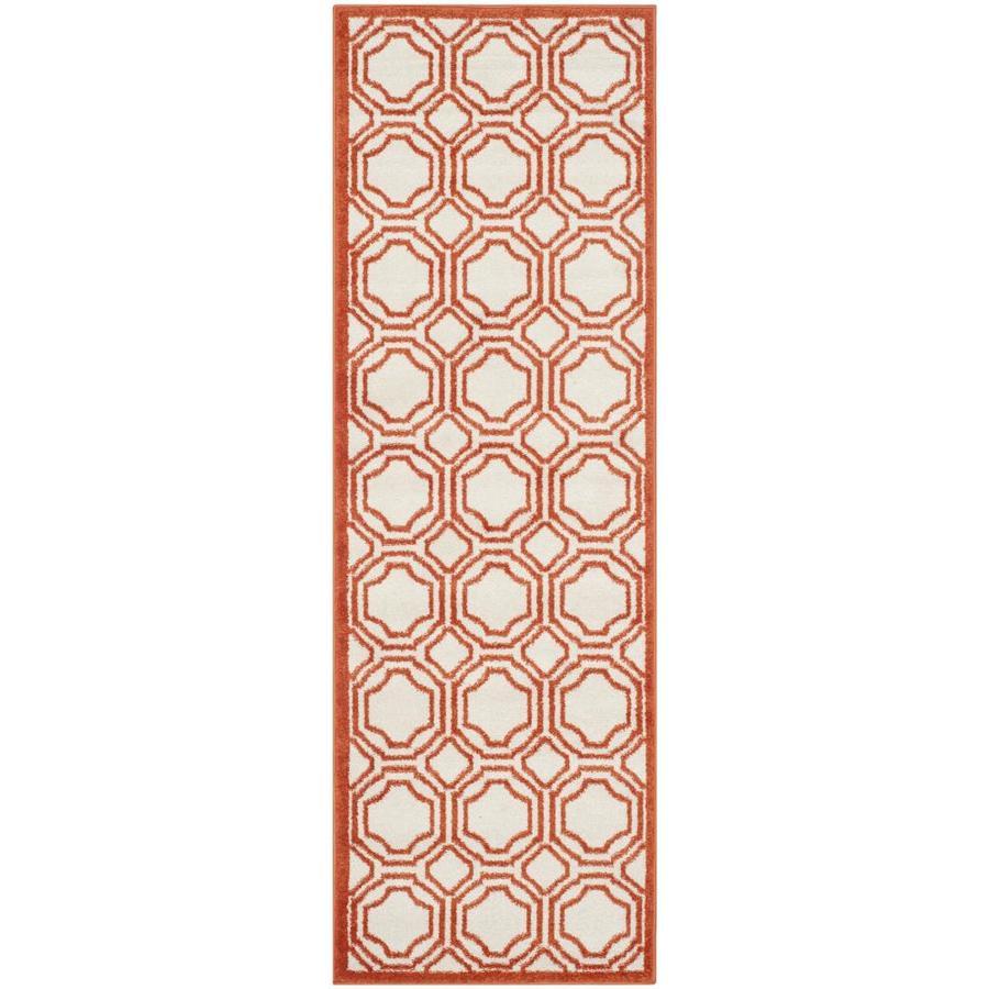 Safavieh Mosaic Ivory/Orange Indoor/Outdoor Runner (Common: 2 x 7; Actual: 2.3-ft W x 7-ft L)