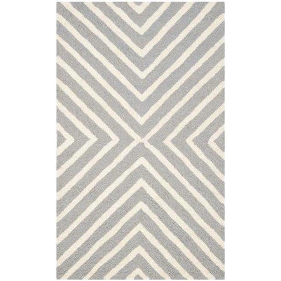 Safavieh Cambridge Silver/Ivory Indoor Handcrafted Moroccan Area Rug (Common: 4 x 6; Actual: 4-ft W x 6-ft L)