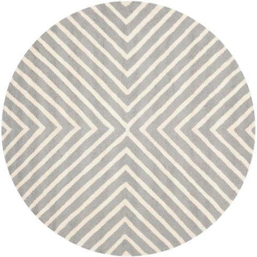 Safavieh Cambridge Silver/Ivory Round Indoor Handcrafted Moroccan Area Rug (Common: 6 X 6; Actual: 6-ft W x 6-ft L x 6-ft dia)