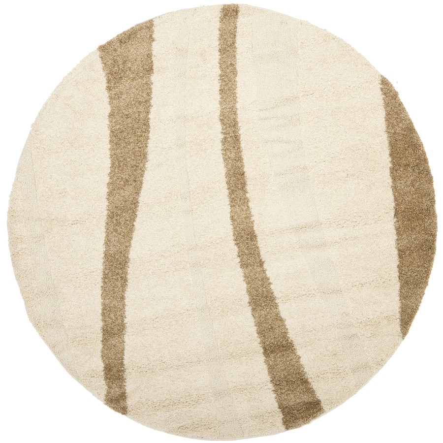 Safavieh Willow Shag Cream/Dark Brown Round Indoor Machine-made Tropical Area Rug (Common: 6 x 6; Actual: 6.583-ft W x 6.583-ft L x 6.583-ft Dia)