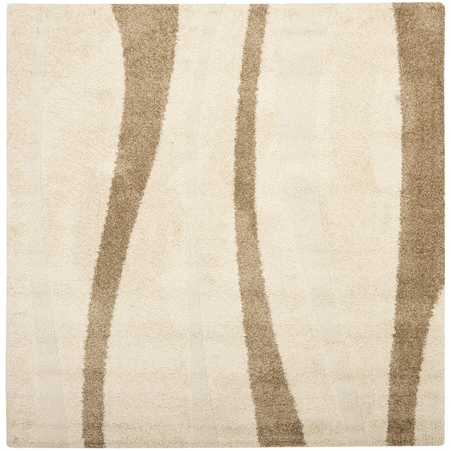 Safavieh Willow Shag Cream/Dark Brown Square Indoor Machine-made Tropical Area Rug (Common: 6 x 6; Actual: 6.583-ft W x 6.583-ft L)