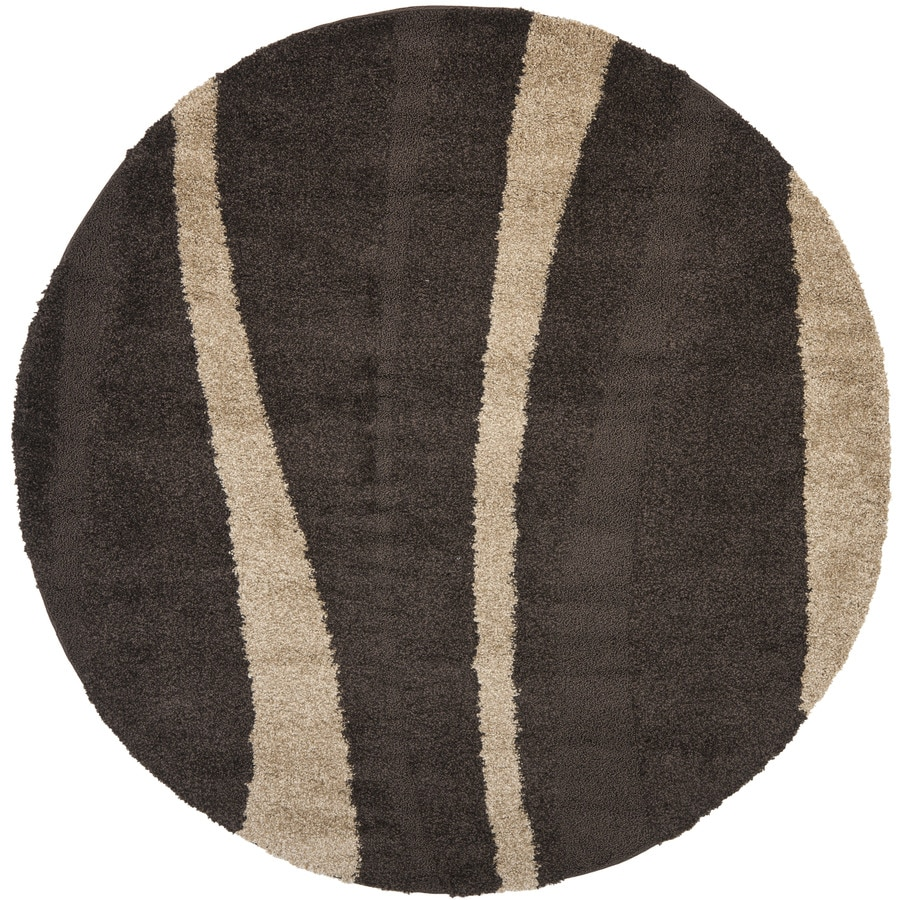Shop safavieh willow shag dark brown beige round indoor for Where can i buy area rugs