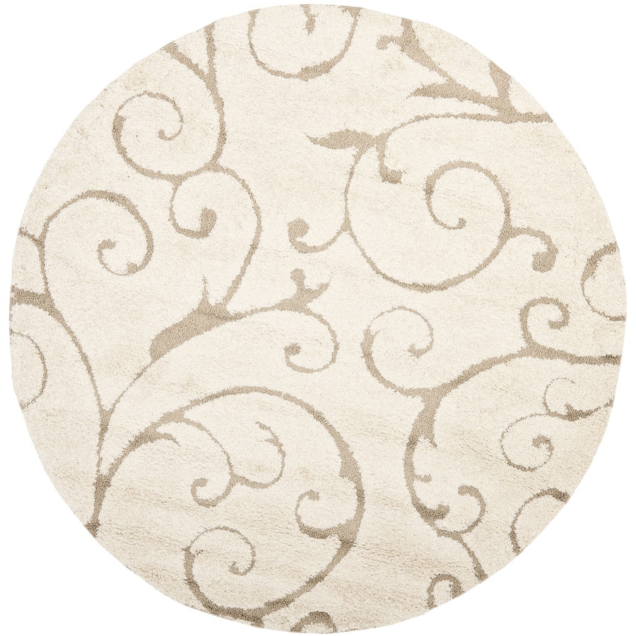 Safavieh Florida Scroll Shag Cream/Beige Round Indoor Machine-made Tropical Area Rug (Common: 6 x 6; Actual: 6.583-ft W x 6.583-ft L x 6.583-ft Dia)