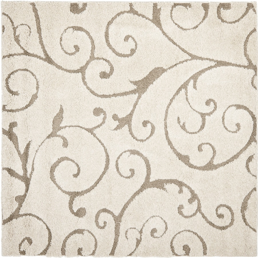 Safavieh Florida Scroll Shag Cream/Beige Square Indoor Machine-made Tropical Area Rug (Common: 6 x 6; Actual: 6.583-ft W x 6.583-ft L)