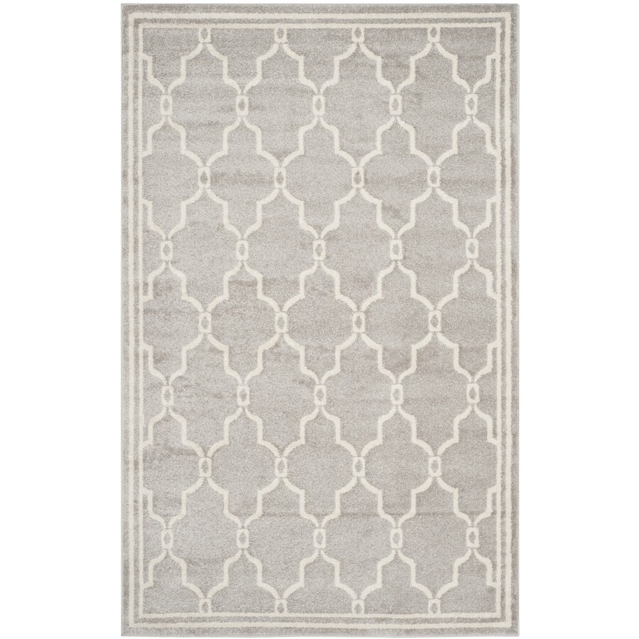 Safavieh Amherst Gray/Ivory Rectangular Indoor/Outdoor Machine-Made Moroccan Area Rug (Common: 4 x 6; Actual: 4-ft W x 6-ft L)