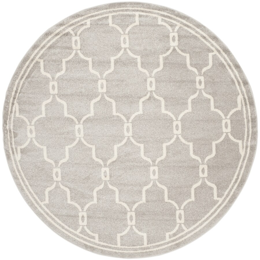 Safavieh Amherst Grey/Ivory Round Indoor/Outdoor Machine-Made Area Rug (Common: 7 x 7; Actual: 7-ft dia)