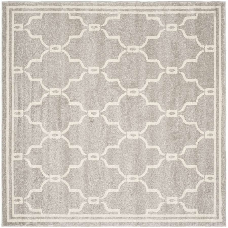 Safavieh Amherst Gray/Ivory Square Indoor/Outdoor Machine-Made Moroccan Area Rug (Common: 7 x 7; Actual: 7-ft W x 7-ft L x 0-ft Dia)