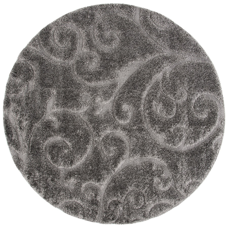 Safavieh Florida Scroll Shag Gray Round Indoor Machine-made Tropical Area Rug (Common: 6 x 6; Actual: 6.583-ft W x 6.583-ft L x 6.583-ft Dia)