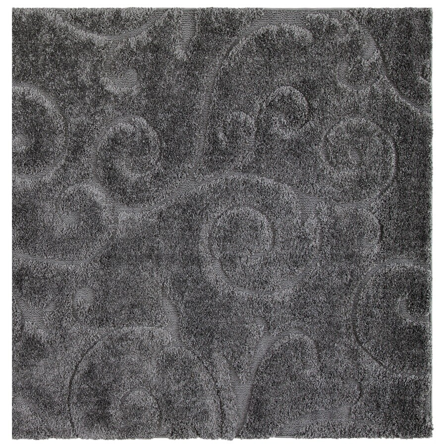 Safavieh Florida Scroll Shag Gray Square Indoor Tropical Area Rug (Common: 7 x 7; Actual: 6.7-ft W x 6.6-ft L)