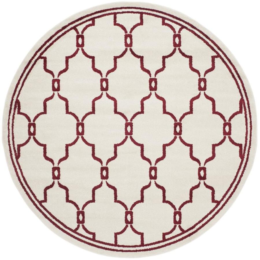 Safavieh Marion Ivory/Red Round Indoor/Outdoor Area Rug (Common: 7 x 7; Actual: 7-ft W x 7-ft L x 7-ft dia)
