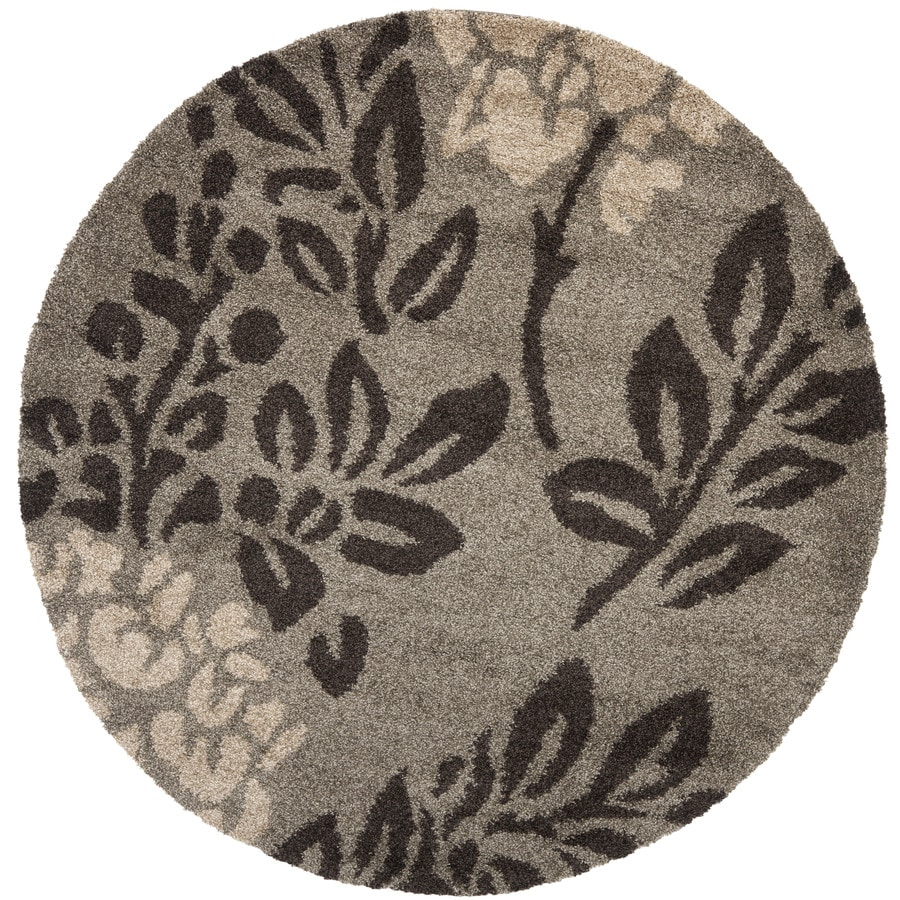 Safavieh Florida Shag Smoke/Dark Brown Round Indoor Machine-Made Tropical Area Rug (Common: 6 x 6; Actual: 6.583-ft W x 6.583-ft L x 6.583-ft Dia)